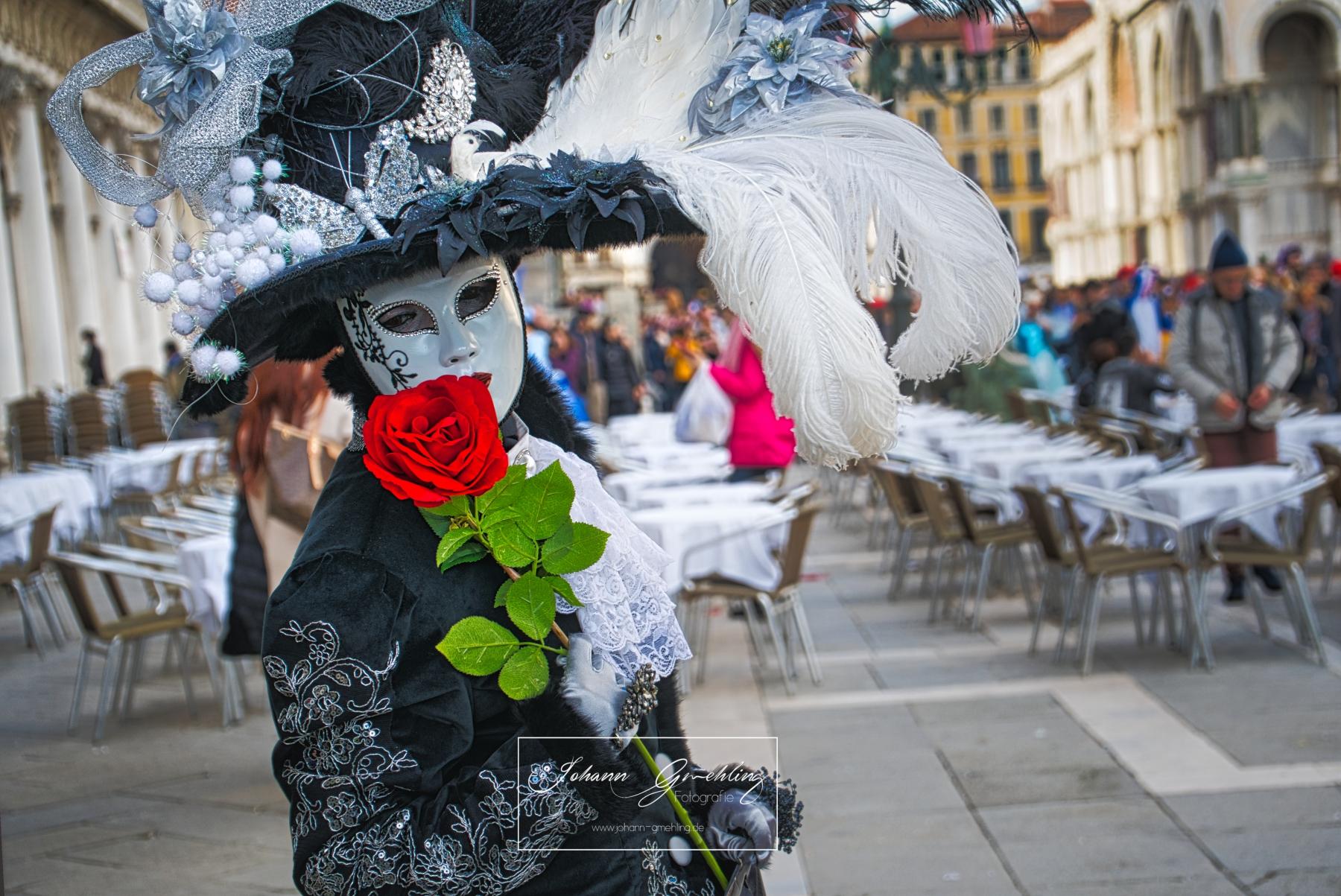 Dame mit Rose in schwarze